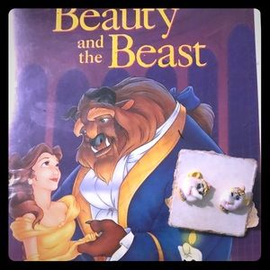 Beauty and the Beast earrings with VHS movie